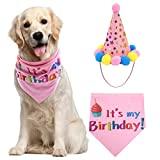 PUPTECK Dog Birthday Bandana Scarfs with Cute Girl Doggie Birthday Party Hat Pink