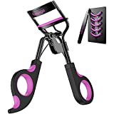 Kaasage Eyelash Curler with Pads - Lash Curler with Eyebrow Tweezer & 5 Extra Silicone Replacement Pads, Get Perfect Curl in 5 Seconds