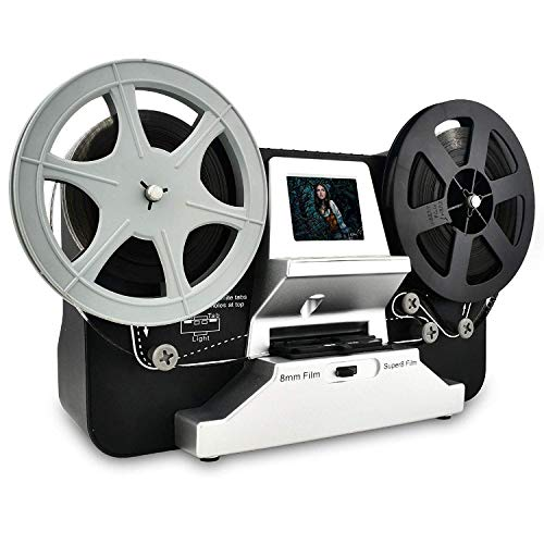 Rotolo di pellicola da 8 mm e bobine di pellicola Super8 (5'e 3') Digital Vido Scanner e digitalizzatore di film con LCD da 2,4', nero (Film2Digital MovieMaker) con scheda SD da 32 GB