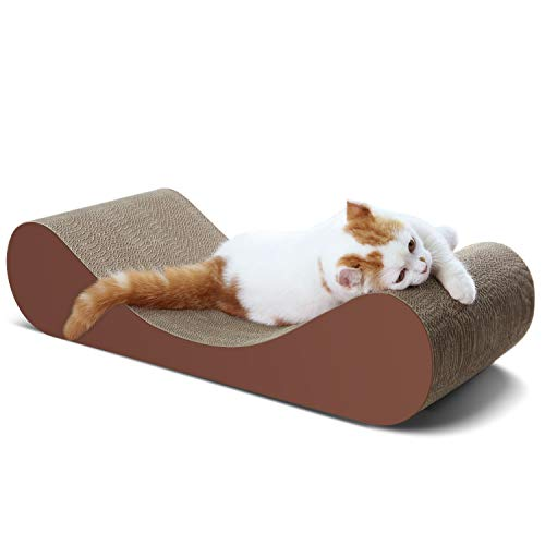 ScratchMe Cat Scratcher Cardboard Lounge Bed, Cat Scratching Post with Catnip, Durable Board Pads Prevents Furniture Damage