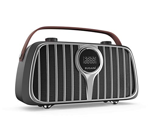 Bluetooth Speaker, BUGANI M128 Bluetooth 5.0 Retro Speakers, 2400 Minutes Playtime, 40W Vintage Portable Speakers, Mic Input, Indoor Wireless Speaker for Home, Party, Entertainment