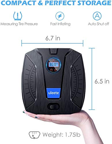 uleete Digital Tire Inflator for Car, DC 12V Portable Air Compressor, Air Pump with Auto Shut Off Feature, Tire Pump for Automobile with LED Light, Handheld Auto Pump for Car Tire and other inflatable
