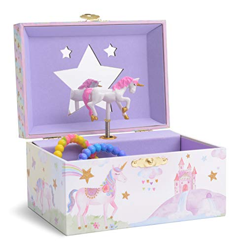 Jewelkeeper - Caja Musical para Joyas para Niñas, con Unicornio Arco Iris y Estrellas de Lentejuelas - Melodía The Unicorn