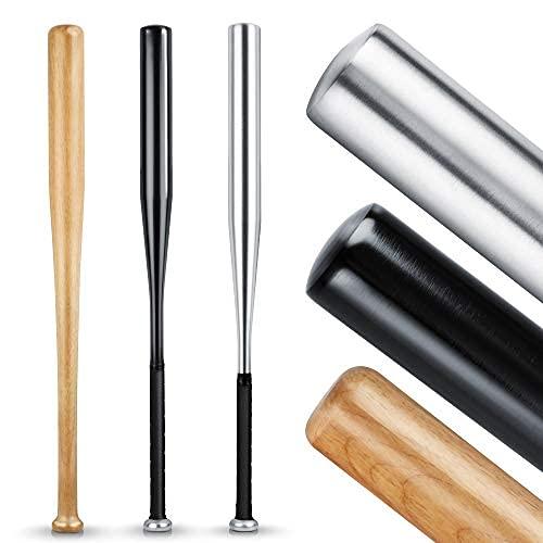 Heldenwerk Batte de Baseball en Bois ou Aluminium - 31 Pouce Batte Baseball avec Poignée antidérapante - Battes de Base-Ball pour Adulte et Enfant