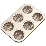 CHEFMADE Madeleine Mold Cake Pan, 6-Cavity Non-Stick Spherical Shell Madeline Bakeware for Oven Baking (Champagne Gold)