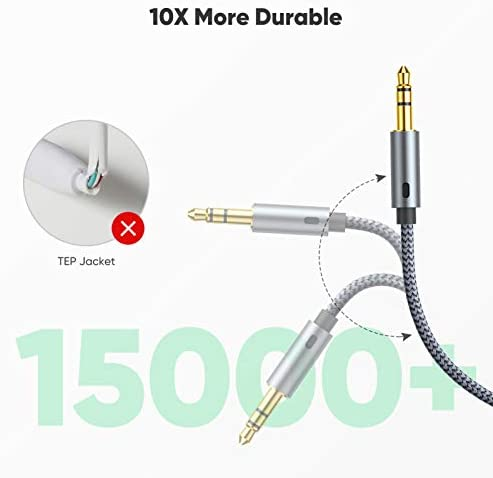 2 Pack AUX Cable, Oldboytech Auxiliary Cable [4ft/1.2M, Hi-Fi Sound] 3.5mm Nylon Braided AUX Cord for Car Compatible with Stereos, Speaker, iPod iPad, Headphones and More(Grey)