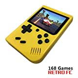 BAORUITENG Handheld Game Console, Retro FC Game Console,Video Game Console with 3 Inch 168 Classic Games (Yellow)