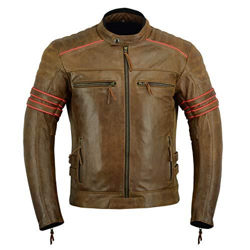 LeatherTeknik Chaqueta de motorista para hombre, de piel, color marrón DC-4066