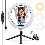 Yoozon Luz de Anillo LED 10' fotográfica de Escritorio, 3 Colores 10 Brillos Regulables Control Remoto Bluetooth, Trípode con Soporte Giratorio de teléfono para Selfie, Maquillaje, Youtube, TIK Tok