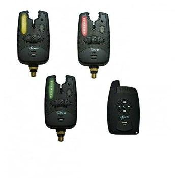 CarpOn Détecteur de touche sans fil 3+1 avec aiguilles lumineuses LED Idéal pour la pêche à la carpe