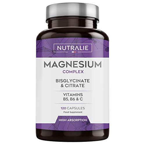Magnesio con Vitaminas B5, B6 y C | Bisglicinato y Citrato de Magnesio...