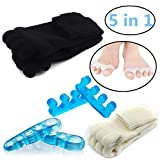 Toe Separators Set - 1 Pairs, Black White Toes Alignment Socks, Gel Toe Spacers Toe Stretchers, Instant Therapeutic Bunion Relief for Women and Men