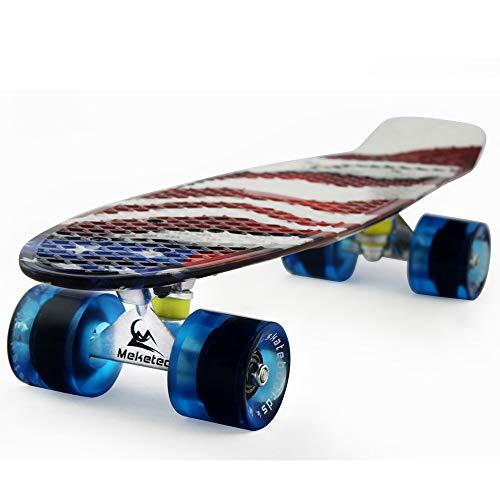 Skateboards Complete 22 Inch Mini Cruiser Retro Skateboard for Kids Boys Youths Beginners