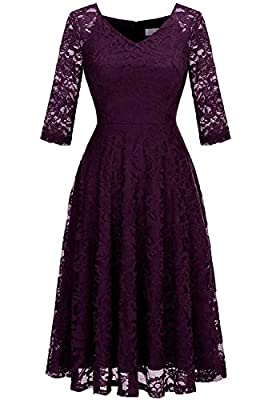 Fabric:Lace,100% Polyester Design: Zipper Back, V-neck, Long Sleeve, Formal and Chic Great for Wedding, Cocktail and Formal Occasions, make you charming and cool. Please Refer To Our Size Chart Left Before Purchasing Hand wash in cold water is recomm...