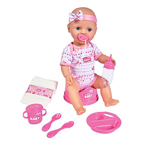 Simba - 105039005 - Poupée Enfant- New Born Baby - Fonction Pipi - Rose - 43 cm
