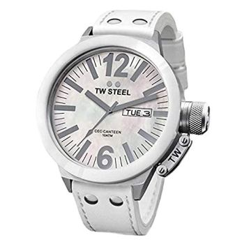 TW Steel Men's CE1037 CEO Canteen White Leather Mother-of-Pearl Dial Watch
