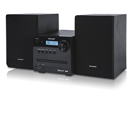SHARP XL-B515D (BK) Micro Sound System, Digital Radio mit UKW, DAB/ DAB+, Bluetooth und USB Playback, CD-MP3, 40 Watt, Schwarz