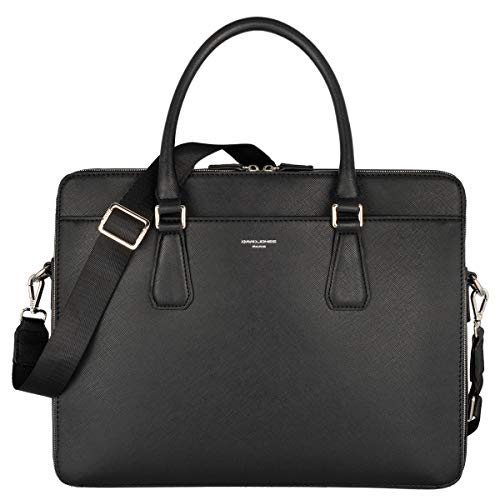 David Jones - Men's Briefcase Handbag - 13 Inch Laptop Document Case - PU Leather Business Work Bag - Men's Messenger Shoulder Bag Business Office Portfolio - Black