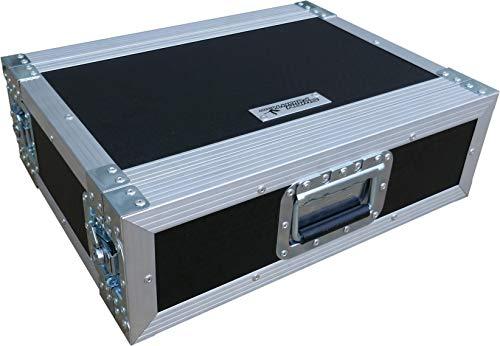 """3U 2 Door 19"""" Rack Mount PC Amp Swan Flight Case 300mm sleeve (Hex)"""