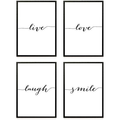 Heimlich Cuadros Decorativos - Decoración Colgante para Paredes de Sala, Dormitorios y Cocina - Arte Mural a Juego Hogar y Oficina - 4 x A4 (21x30cm) | Sin Marcos » Live Love «