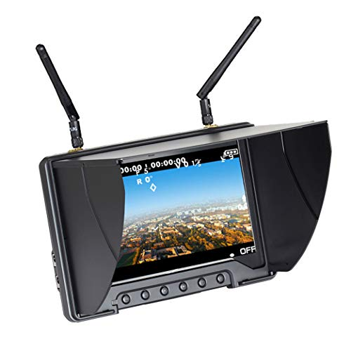Flysight Monitor Black Pearl Diversity RC801 FPV Monitor con HDMI DVR in 5,8 GHz 40CH 7 Pollici FPV Screen Receiver Batteria Integrata per RC Racing Drone DJI Phantom Airplane (SMA Ant)