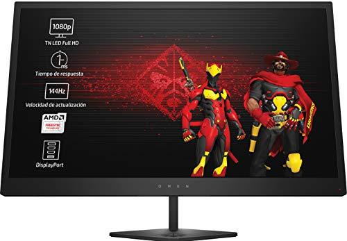 HP OMEN 25 - Monitor gaming de 25 pulgadas FreeSync (FHD, 1920 x 1080 pixeles, tiempo de respuesta de 1 ms, hasta 144 Hz, 3 puertos USB 3.0, 16:9) color negro