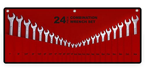 """Best Value 24-Piece Master Combination Wrench Set with Roll-up Storage Pouch 