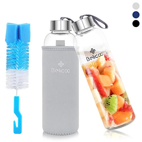 BELICOO Glasflasche Wasserflasche Classic 550 ml BPA Sportflasche Glaswasserflasche Borosilikat auslaufsicher tragbare Reise Sport (Grau)