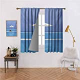 Mannwarehouse Seaside Fashion Curtain Beach Chairs and Umbrella on A Island in The Middle of Ocean Seascape Picture for Living, Dining, Bedroom (Pair) 72' Wx84 L Blue and Beige