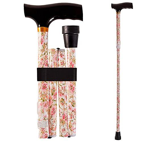Duro-Med Designer Folding Walking Cane, Adjustable With Wood Handle