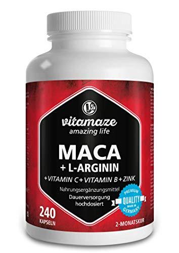 Maca Kapseln hochdosiert 4000 mg + L-Arginin + Vitamine + Zink, 240 Kapseln für 2 Monate, Qualitätsprodukt-Made-in-Germany