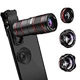 AFAITH Lenti per Cellulare, Obiettivi Smartphone Clip on 5 in 1 Lente Kit 12X Teleobiettivo+Fisheye da 180 °+0.36 Obiettivo Grandangolare e Obiettivo...
