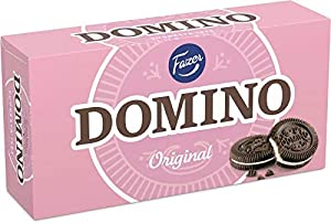 Domino – the most beloved of biscuits. A classic amongst sandwich biscuits. Original. Genuine. Domino's enduring popularity that spans generations does not seem to have any other explanation than the unique taste experience of white vanilla combined ...