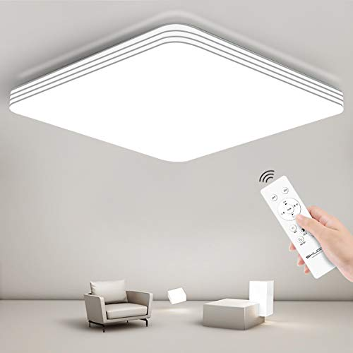 SHILOOK Led Deckenleuchte mit Fernbedienung Dimmbar, 24W Deckenlampe Sternenhimmel für Schlafzimmer Küche Wohnzimmer Flur, Flach Weiß Quadratisch 33x33cm