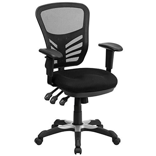 Flash Furniture Mid-Back Black Mesh Multifunction...