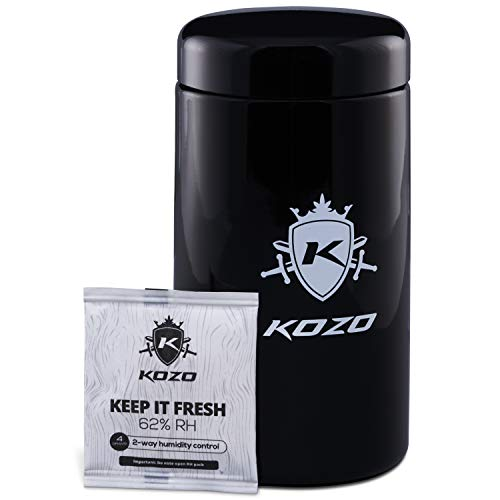 KOZO Smell Proof Stash Jar - Stylish 1 oz Size (500 ml) - Made of Black Glass, with High UV Protection. Airtight Container with Humidity Pack. Discreet Accessory to keep your Herbs Fresh for Longer.
