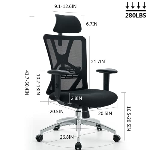 Product Image 6: Ticova Ergonomic Office Chair - High Back Desk Chair with Adjustable Lumbar Support & Thick Seat Cushion - 130°Reclining & Rocking Mesh Computer Chair with Adjustable Headrest, Armrest