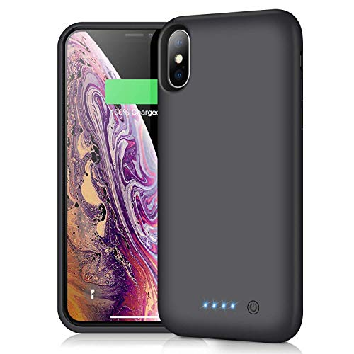 iPosible Cover Batteria per iPhone X/XS/10, 6500mAh Cover Ricaricabile Custodia Batteria Cover Caricabatteria Battery Case per iPhone X/XS/10 [5.8''] Cover Power Bank Backup Charger Case