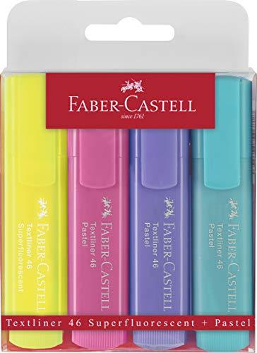 Faber-Castell 154610 - Textmarker Textliner 1546, 1 - 5 mm, 4er Etui, pastell