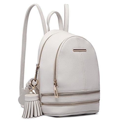 Miss Lulu Rucksackhandtaschen Damen Pu Leder Rucksack Wasserdichte Tasche Umhängetasche Schultasche Reise Daypacks Kleine Geldbörse (Weiß)