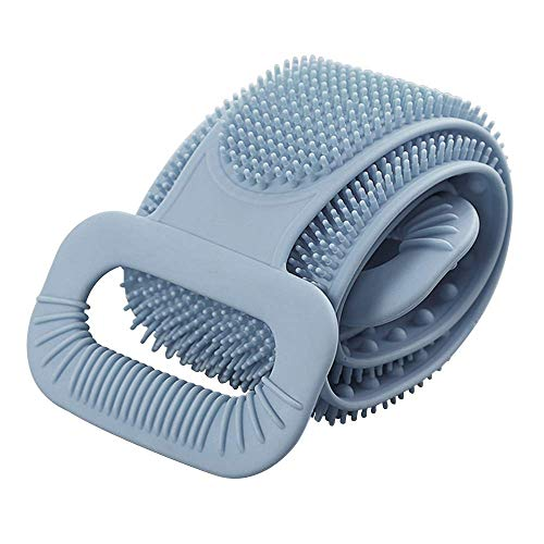 """YEVIOR Updated Back Scrubber for Shower Extra Long 35"""", Handle Body Washer, Lathers Well, Dual Sided Silicone Exfoliating Texture Scrubbing Pad for Women Men to Deep Clean, Relax Your Body,Gray"""