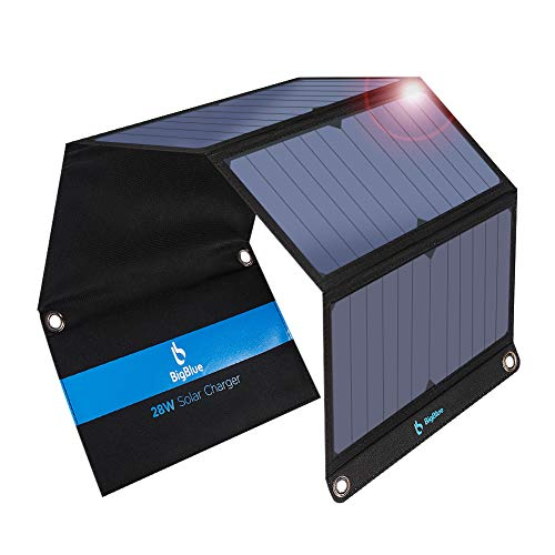 [Upgraded]BigBlue 3 USB Ports 28W Solar Charger(5V/4.8A Max), Foldable Portable Solar Phone Charger with SunPower Solar Panel Compatible with iPhone 11/Xs/XS Max/XR/X/8/7, iPad, Samsung Galaxy LG etc.