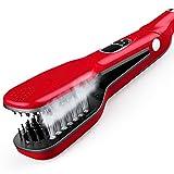 Professional Salon Steam Ceramic Hair Straightener, Best 3D Ion Wet Hair Iron Straightening Brush, Travel Kit Wide Hair Straightener Comb for All Women Hair, Dual Voltag (Red)