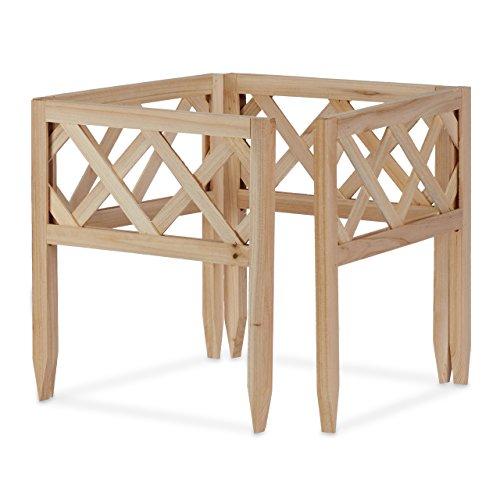Relaxdays Steckzaun Holz 4er-Set, Gartendeko, niedrige Beeteinfassung & Zierzaun, Erdspieß, erweiterbar, 30x30cm, natur