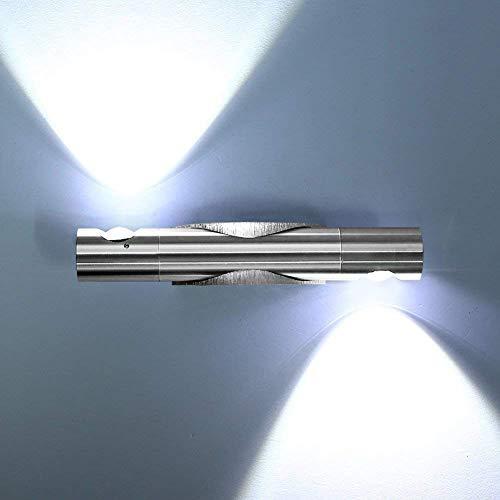 Lightess Applique Murale Intérieur 2 LED 6W Moderne Up Down Rotative à 360 Degrés en Aluminium Éclairage Mural Lumière Réglable pour Chambre Salon Bureau Escalier Blanc Froid 2 Spots