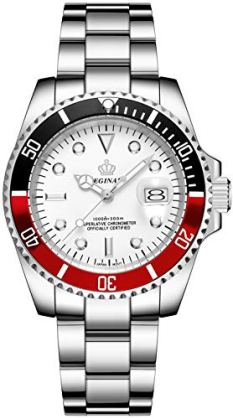 Mens Luxury Watches Rotatable Bezel Mineral Glass Luminous Hand Quartz Silver Tone Stainless Steel Watch (White Red)