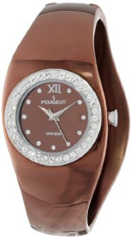 Peugeot Women's Stainless Steel Swiss Movement Cuff Watch with Swarovski Crystal Accented Bezel