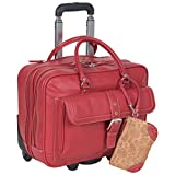 Heritage Travelware 'Lake View' Women's Pebbled SOHO Leather Multi-Compartment 15.6' Laptop & Tablet Wheeled Business Portfolio Tote / Overnighter Carry-On, Red