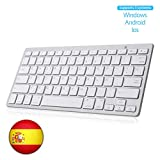 SENGBIRCH Teclado Bluetooth Espaol, Light Teclado Inalmbrico Porttil para iPhone de iOS, iPad, Samsung, Huawei, Android, Windows y Cualquier Dispositivo con Bluetooth, Teclado Bluetooth (Blanco)