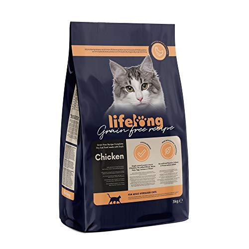 Marca Amazon Lifelong Alimento seco para gatos adultos esterilizados con pllo fresco, receta sin cereales - 3kg